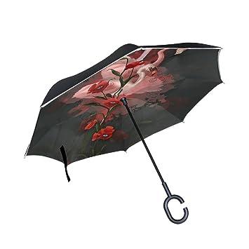 jstel doble capa diseño de flamencos y amapolas 3d paraguas coches Reverse resistente al viento lluvia