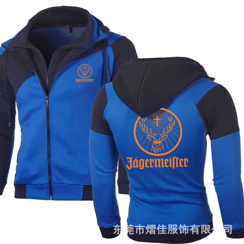 Spring Autumn Fashion Sports Sweatshirt Outdoor Casual Jacket Zipper Hoodie Cotton Motorcycle Sportswear Slim Fit Sweatshirts Blue,XXXL