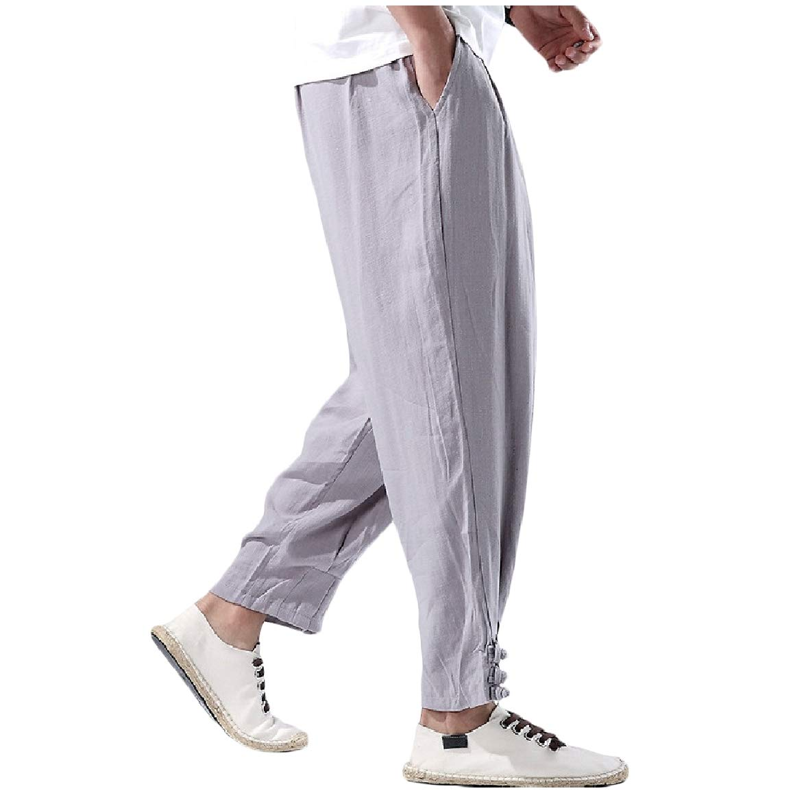 QUHS Mens Loose Harem Pants Linen Chinese Style Tunics Casual Trousers