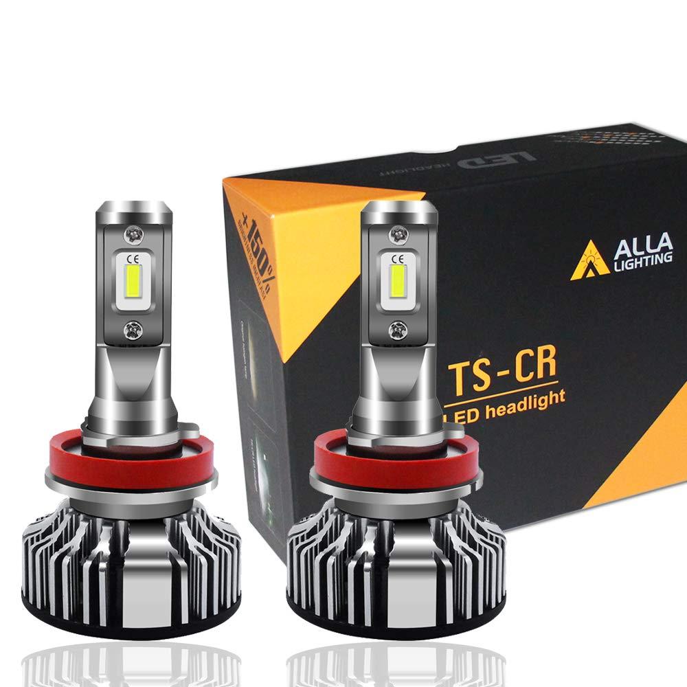 Alla Lighting 10000lm LED H11 Headlight Bulbs or Fog Lights (Not both) Extremely Super Bright TS-CR H8 H9 H11 LED Headlight Bulbs or Fog Light Conversion Kits H11 Bulb, 6000K Xenon White (Set of 2)