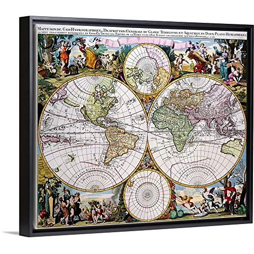(Floating Frame Premium Canvas with Black Frame Wall Art Print Entitled Double Hemisphere Polar Map in The 17th Century 24