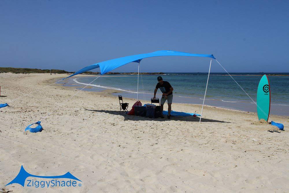 ZiggyShade Family Beach Sunshade - Lightweight Sun Shade Tent with Sandbag Anchors & 4 Free Pegs | UPF50+ UV Quality Lycra Fabric | Large & Portable | Canopy for Parks & Outdoors (Sky Blue, Jumbo) by ZiggyShade