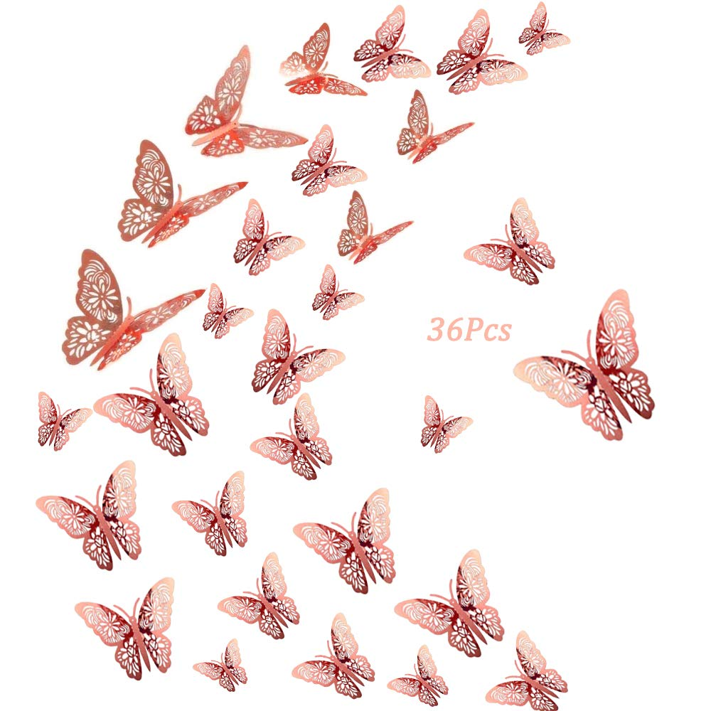 36Pcs Upgraded Butterfly Wall Decals Sticker Decorations - 3D Metallic Hollow-Out, AUHOKY Removable Mural DIY Home Decor for Kids Bedroom Living Room Party Wedding(Rose-Gold)