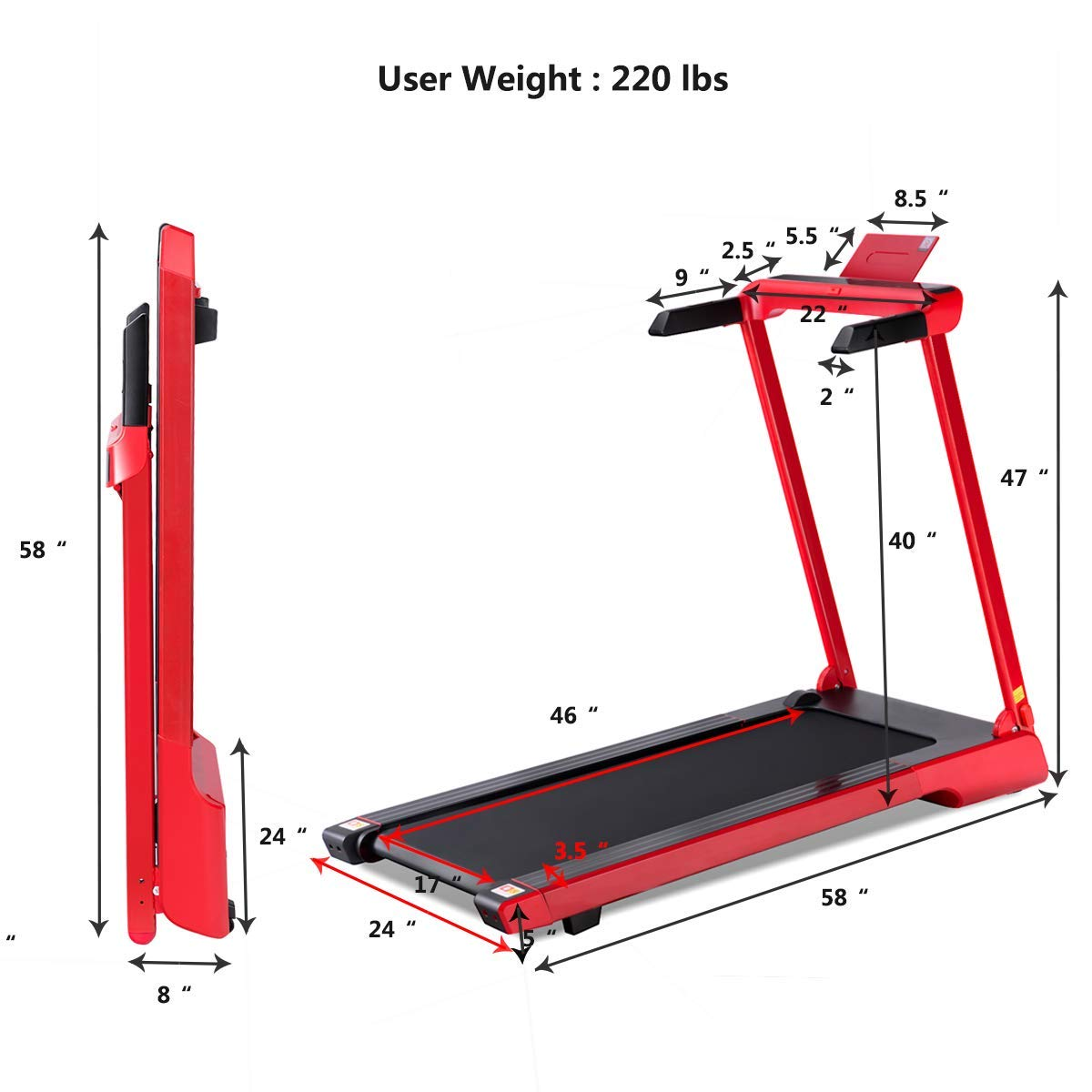 Goplus 2.25 HP Folding Treadmill Electric Cardio Fitness Jogging Running Machine Portable Motorized Power Slim Treadmill with Sports App and LED Display (Red) by Goplus (Image #7)
