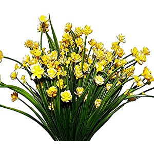 AyFashion 4pcs Artificial Daffodils Faux Yellow Flowers Greenery Plants Plastic Shrubs Office Kitchen Home Garden Hanging Wedding Ceremony Decor 50