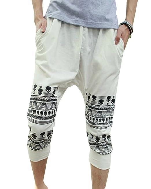 Hombre Pantalones Cortos Harem Deportivos Shorts Hip-Hop Bermuda Bolsillos  Blanco S  Amazon.es  Ropa y accesorios 8f6118f9a2e