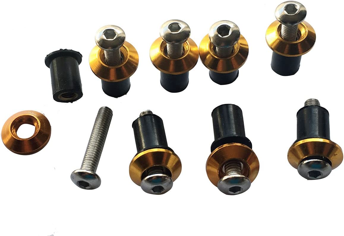 Gold Motorcycle Windscreen Windshield Well-Nuts Washers Fairing Mounting Bolts Kit for 2012 Suzuki GSXR750