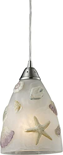 Elk 20000 1 Seashore 1-Light Pendant in Satin Nickel
