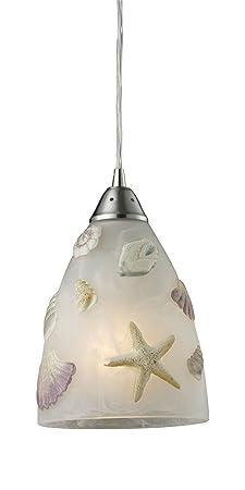 Elk 20000 1 Seashore 1-Light Pendant in Satin Nickel