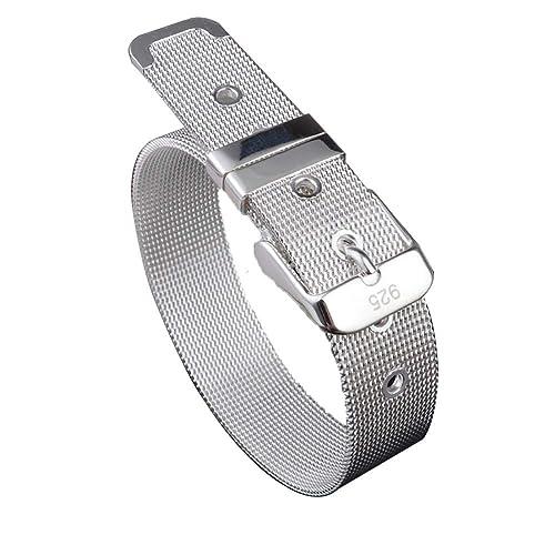 Pulsera de acero inoxidable pulsera astilla cinturón hebilla para hombres mujeres 14mm de ancho se ajusta hasta 8,5