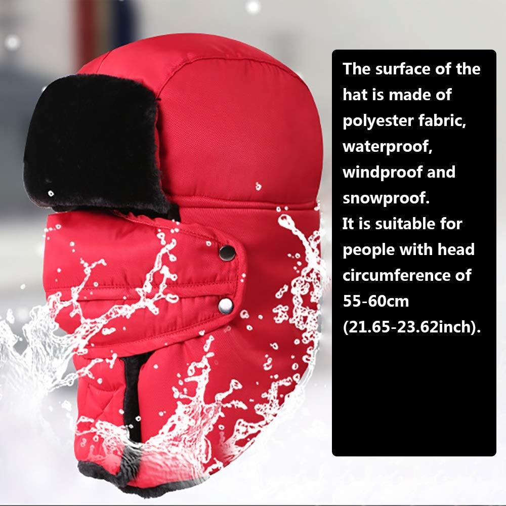 Rosa Pattinaggio AGTRRYHZ Unisex Esterno di Inverno Cappello Trooper Freddo Meteo Cappelli Termici con paraorecchie e Staccabile Antivento Maschera for Escursionismo Sci