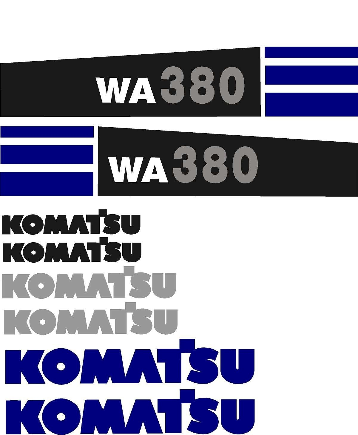 high quality aftermarket Komatsu WA380 Wheel Loader Decal Kit With Warnings