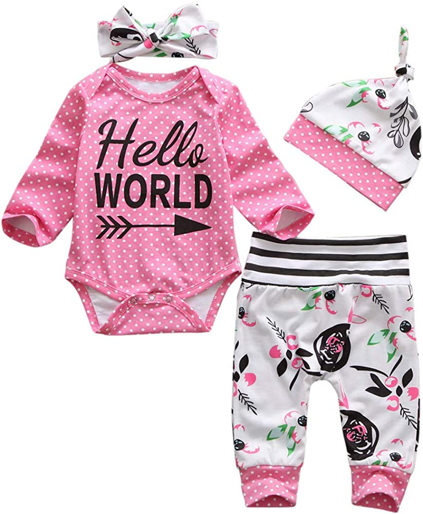 Geagodelia Conjunto de ropa para bebé de 3 piezas, body de manga larga + pantalones largos de verano, 6 meses de recién nacido, gorro de Hello World