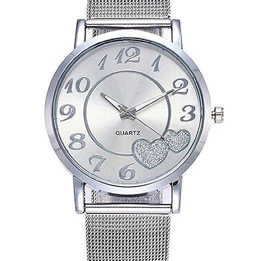 Mujeres Relojes de Cuarzo de liquidación señoras Relojes Amor corazón Mujer Relojes analógico de Malla de Acero Inoxidable Reloj de Regalo (Plateado): ...