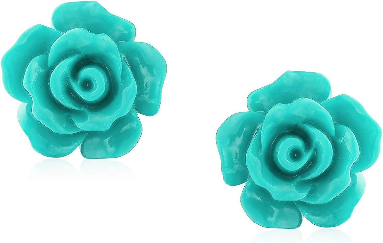 Blue Green Floral Studs
