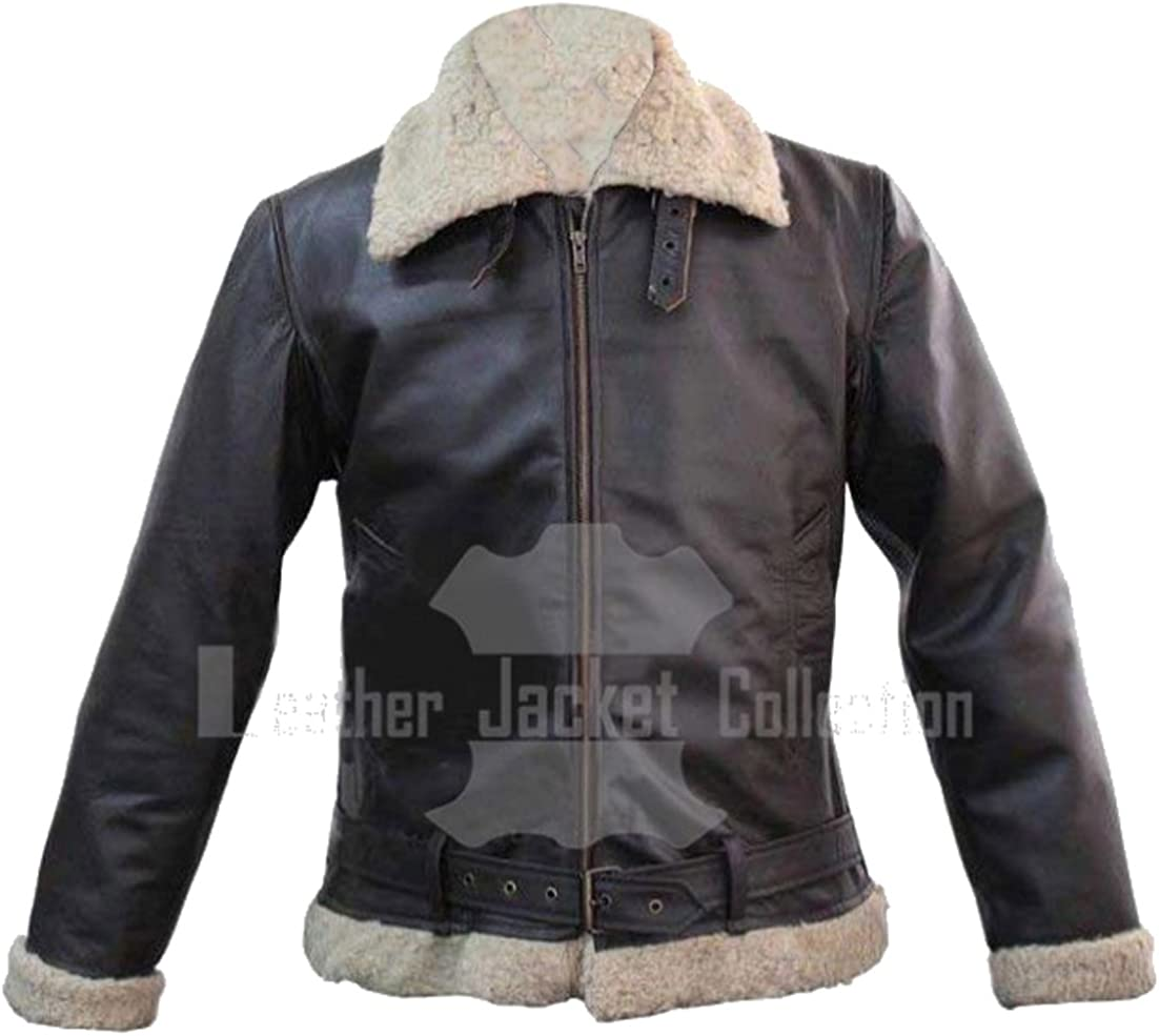 Mens Ginger Brown B3 Artificial Fur RAF WW2 Flying Bomber Shearling Jacket for Sale On