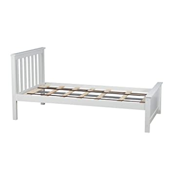 Wooden Twin Size Bed.Max Lily Solid Wood Twin Size Bed White