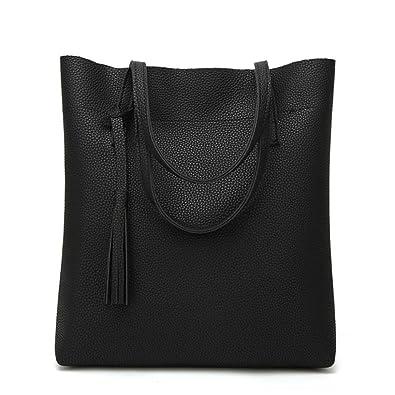 88898067c2 Amazon.com  Women Large Handbags Simple Design Faux Leather Totes Bags Solid  Tassel Travel Shopping Work Shoulder Bag (Black)  Shoes