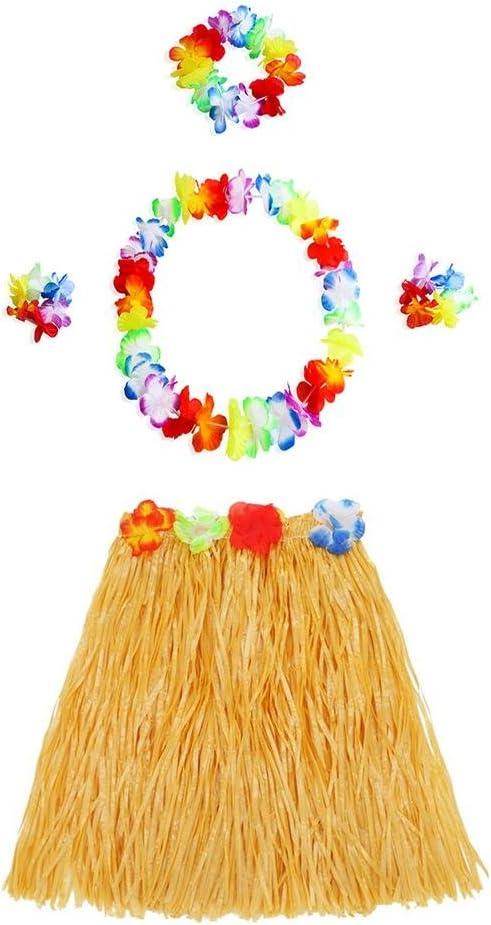 kapokilly Falda y Flor de Hierba Hawaiana Hula Lei Garland Disfraz ...