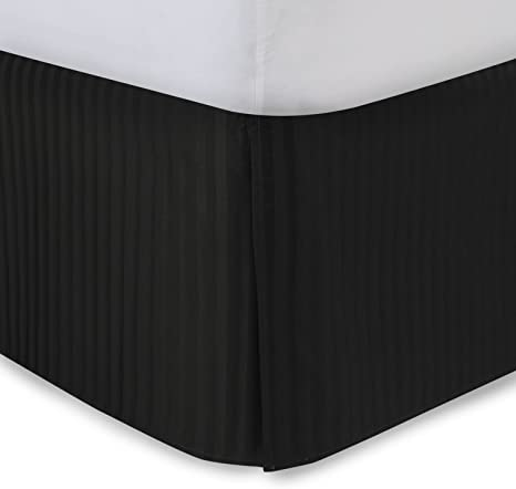 Amazon Com Black Bed Skirt Queen Bed Skirt 14 Inch Drop Tailored Pleated Striped Bedskirt Dust Ruffle With Split Corners And Platform Solid Poly Cotton 300tc Fabric Home Kitchen