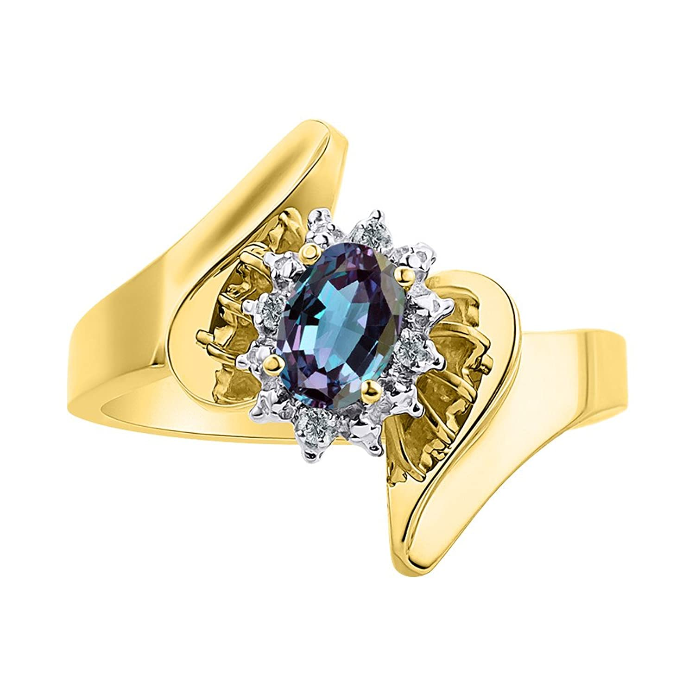 ダイヤモンド&シミュレーションアレキサンドライトリングセット14 Kイエローゴールド – ダイヤモンドハロー – カラーストーン誕生石リング B07BP2HCN1