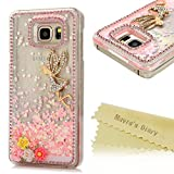 Galaxy Note 5 Case - Mavis's Diary 3D Bling Handmade Pink Love Heart Flowing Liquid with Colorful Flowers Golden Butterfly Fairy Shiny Diamonds Clear Case Hard PC Cover for Samsung Galaxy Note 5 N9200
