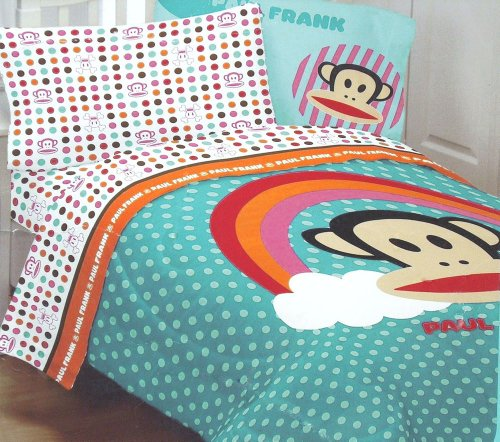 Paul Frank Julius Rainbow Dots Reversible 64 by 86-Inch Comforter, Twin Paul Frank Bedding