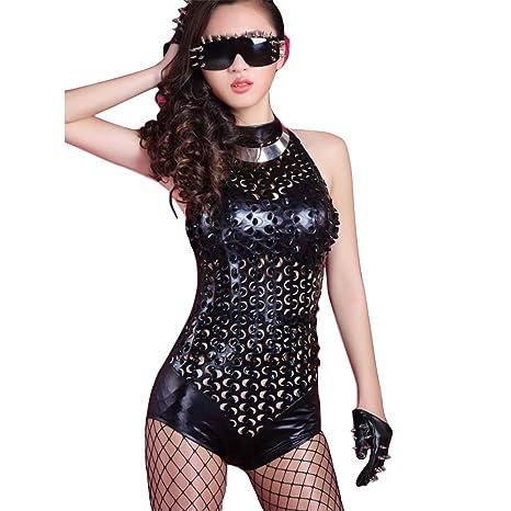 Womens Sexy Jumpsuit Rejilla de Cuero Siamés Traje Ajustado ...
