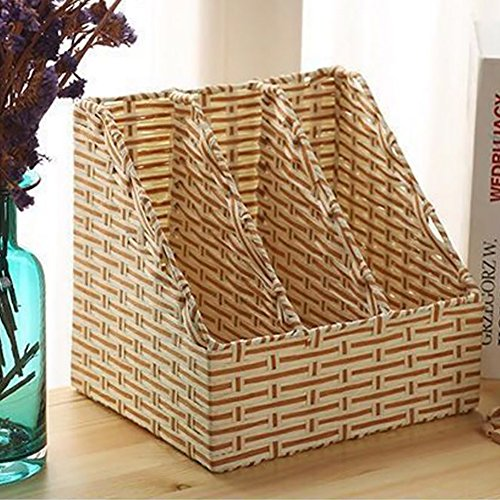 Rattan Magazine Holder, Desktop Storage Rack Woven Storage Basket Desktop Stationery Storage Box Books Stand Creative Simple for Office and Home-Creamy-White 25x20x23cm(10x8x9inch) ()