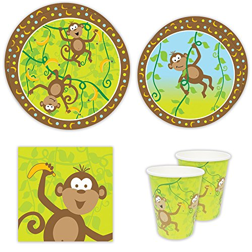 Monkey Party Standard Party Packs (65+ Pieces for 16 Guests!), Jungle Party Tableware, 1st Birthday Supplies, Monkey Baby Shower Decorations - Jungle Blue Paper