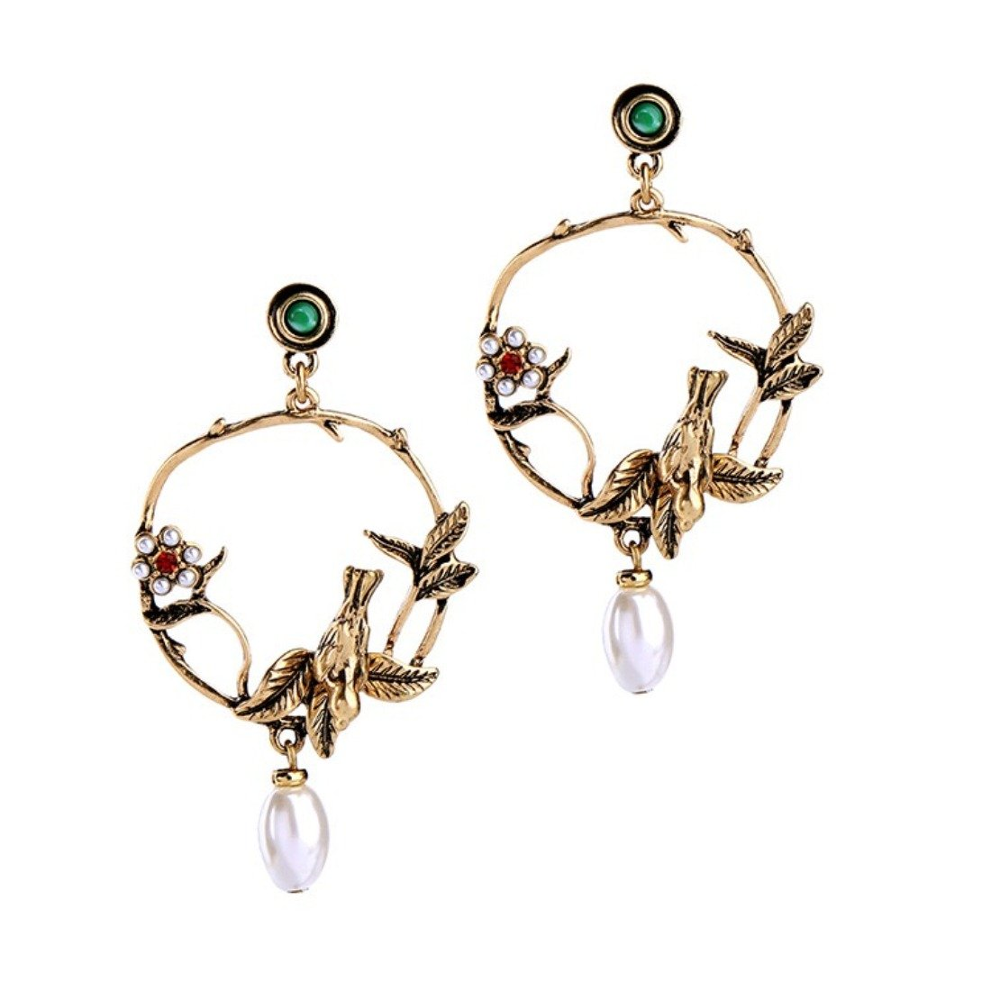 Peony.T Women's Vintage Pearl Drop Circle Earrings Bird Earrings with Flower Antique Color