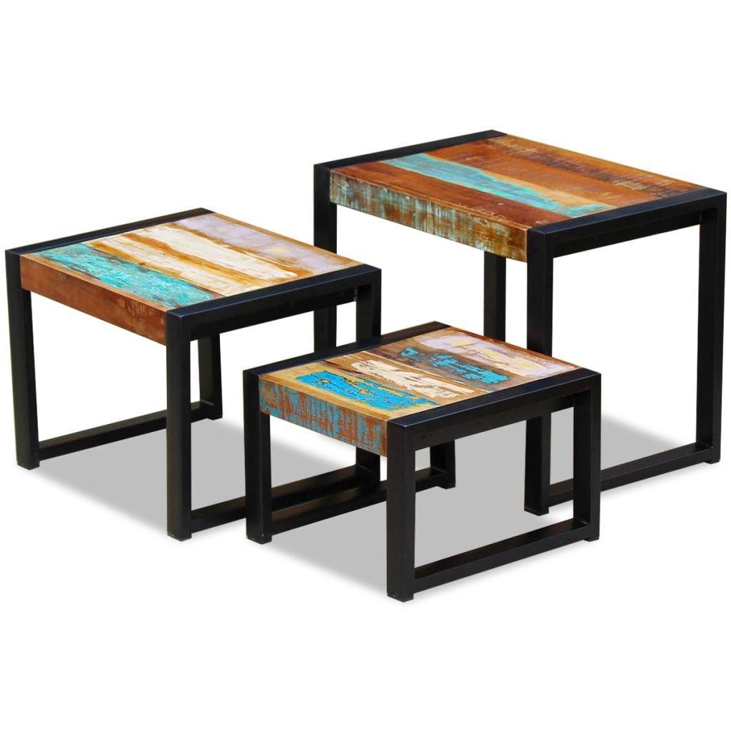 vidaXL Set of 3 Solid Reclaimed Wood Nesting Coffee Side End Tables Nightstands by vidaXL
