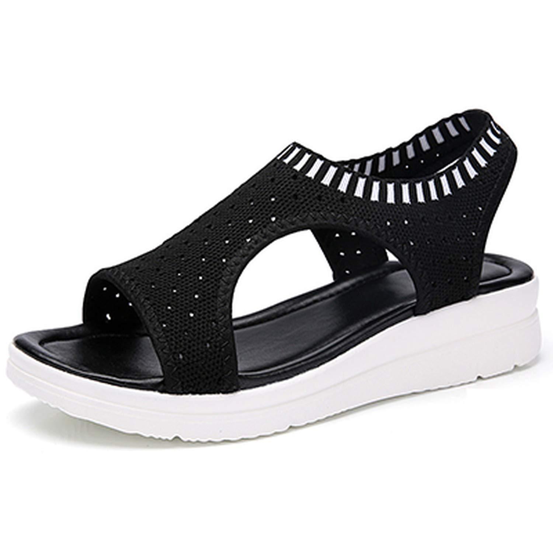Black Zeuow Fashion Women Sandals Breathable Comfort Shopping Ladies Walking shoes Summer Platform Black Sandal