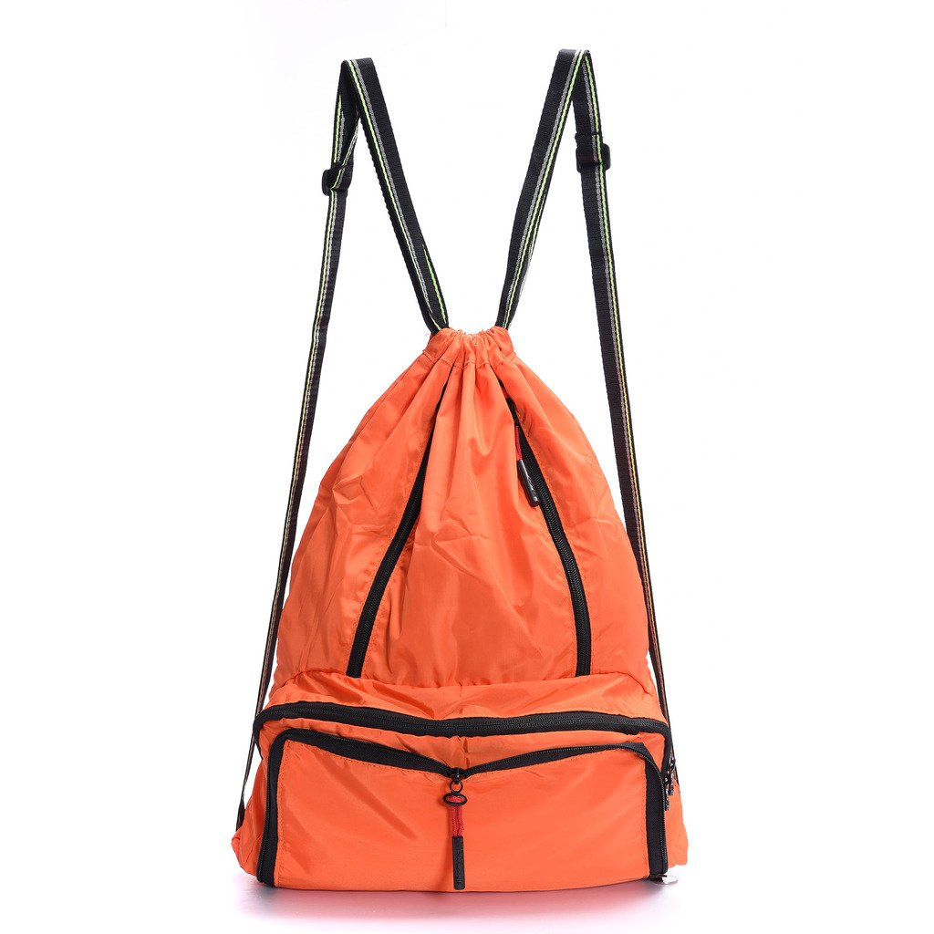 Drawstring Backpack Cinch Sack Foldable Sackpack Lightweight Gym Sack for Summer Swimming Travel Beach Dancing Gym Sports