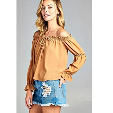 0107bae9869e2 Image Unavailable. Image not available for. Color  Women s Puff Long Sleeve  Ruffled Front Tie Off Shoulder Top