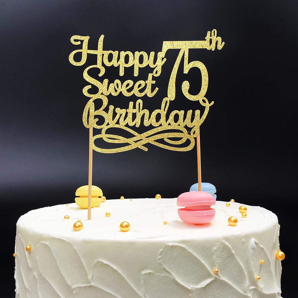 Surprising Gold Happy Sweet 75Th Birthday Cake Topper Gold Paper Cake Topper Funny Birthday Cards Online Elaedamsfinfo