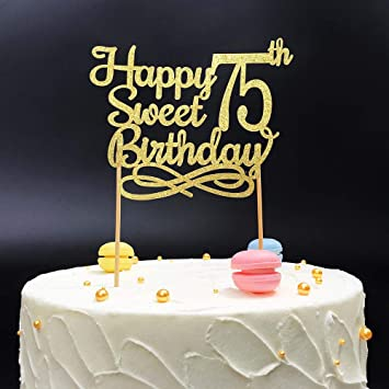 Gold Happy Sweet 75th Birthday Cake TopperGold Paper Topper Party