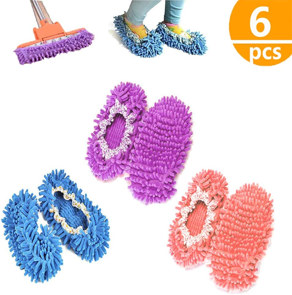 kitteny Zapatillas mopa,3 Pairs Multifunction Microfiber Dust Mop Shoes Slippers Cleaning For Home, 6pcs