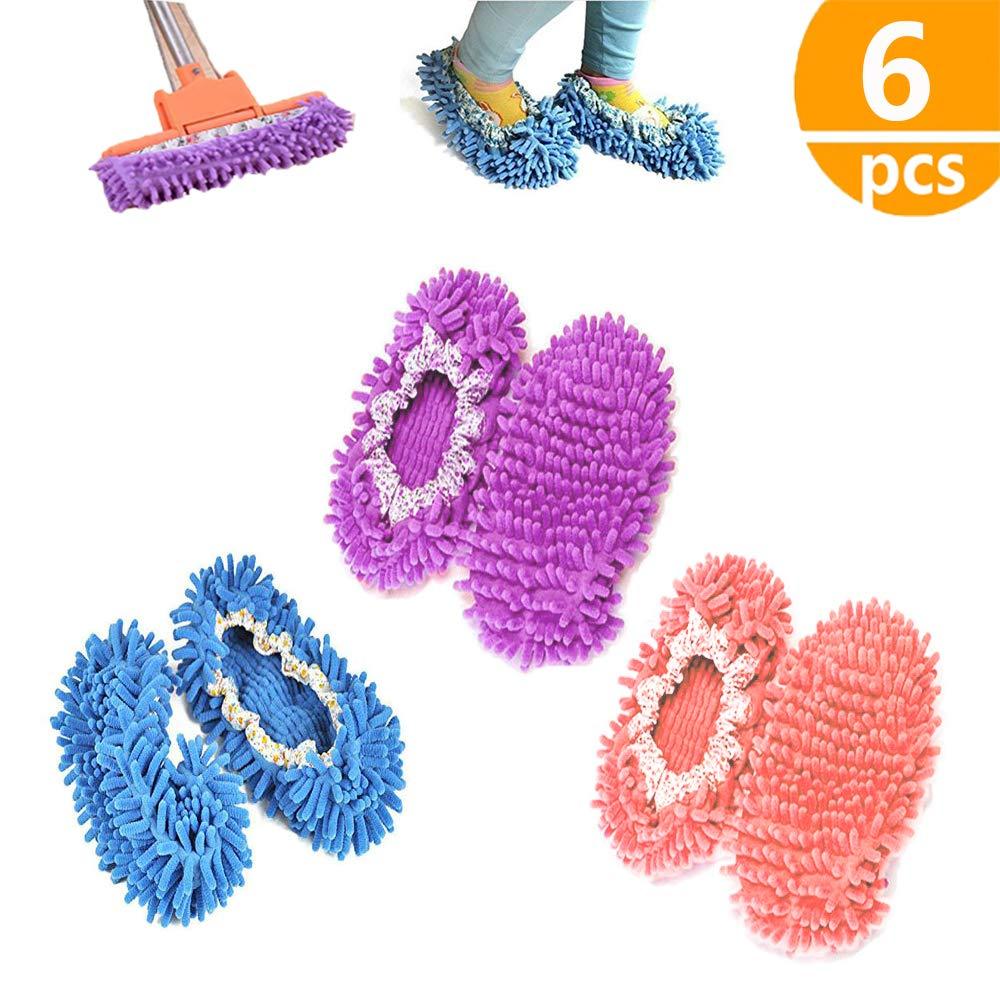 chaussons mop,kitteny 3 Paires Multifonction Microfibre Poussi/ère Mop Chaussures Chaussons De Nettoyage Pour La Maison 3 Couleurs 6pcs
