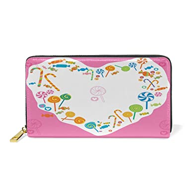 66fe82dae746a5 Image Unavailable. Image not available for. Color: Women Genuine Leather  Wallet Love Candies Zipper Purse Girl ...