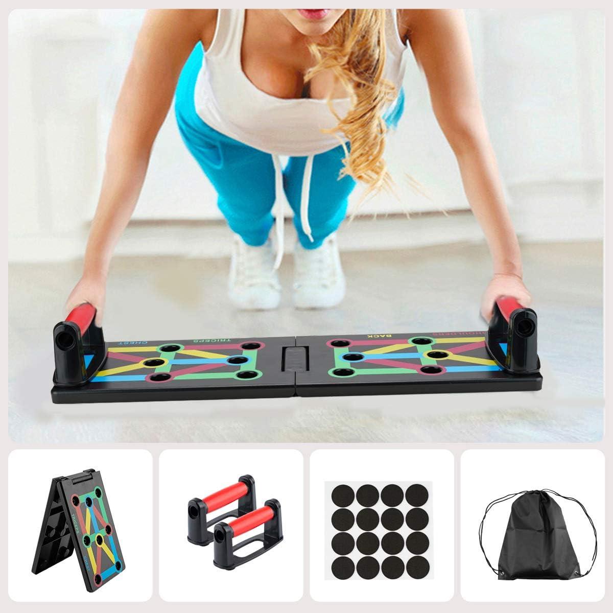 Surplex 9 en 1 Push Up Rack Board System Plegable Push Up Tabla Board Fitness Entrenamiento Gimnasio Ejercicio Stands para el Aptitud Ejercicio ...