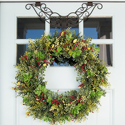 30 in. Artificial Pre Lit LED Decorated Christmas Wreath-Christmas Boxwood and Berry decorations-50 super mini warm clear colored lights with timer battery pack for indoor and outdoor use by VILLAGE LIGHTING COMPANY (Image #2)