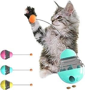 JOYPET Cat Tumbler Treat Ball Toy Interactive Cat Toys Pet Food Dispenser Puzzle Toy Slow Feeder Ball (Blue)