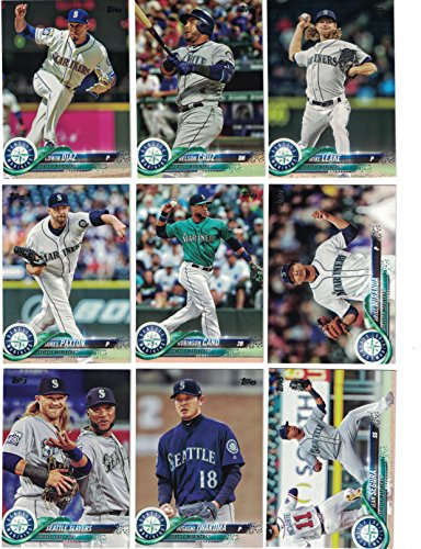 Seattle Mariners / Complete 2018 Topps Series 1 & 2 Baseball 21 Card Team Set! Includes 25 bonus Mariners Cards!