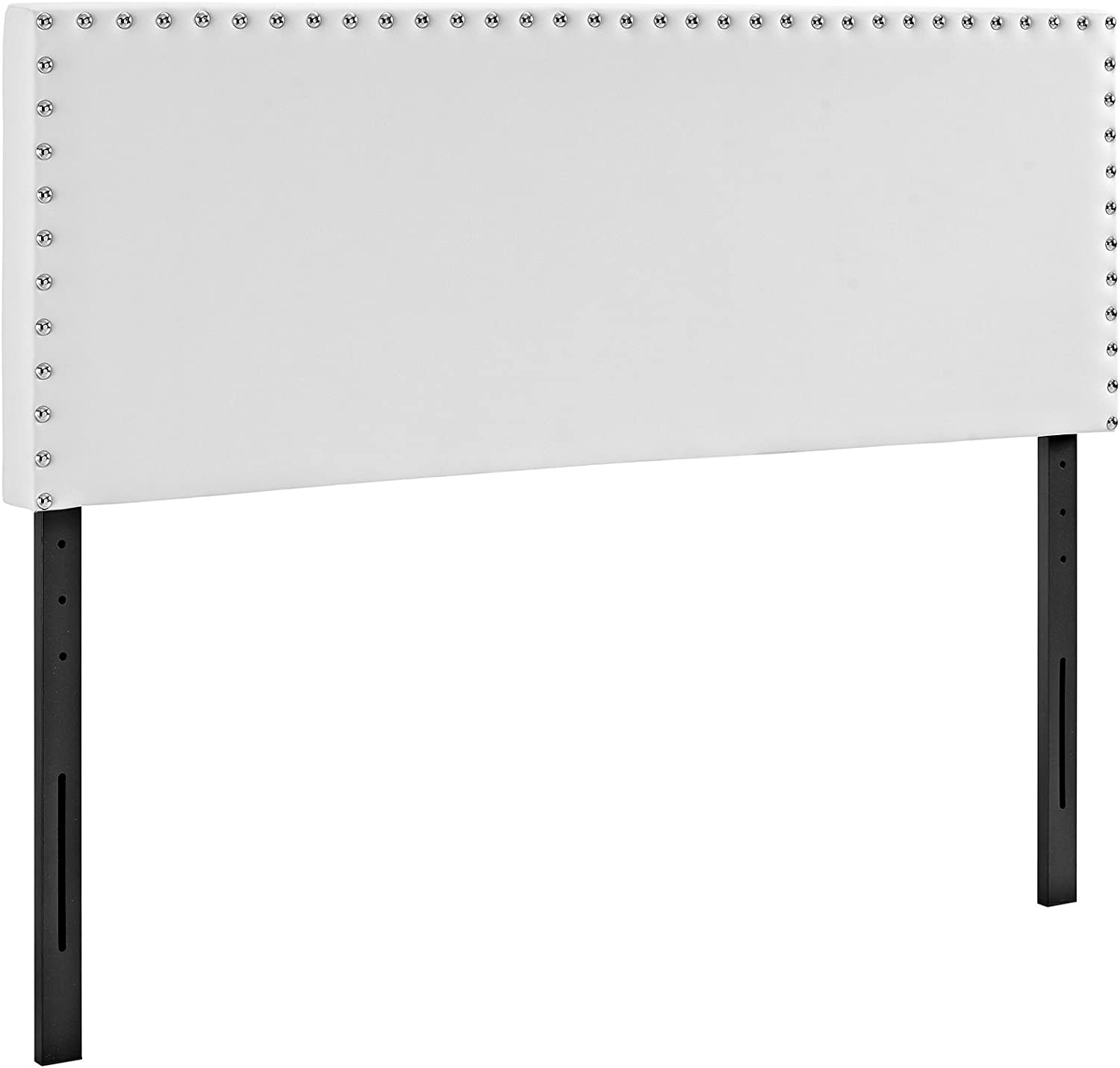Modway Phoebe Faux Leather Upholstered King Headboard in White with Nailhead Trim