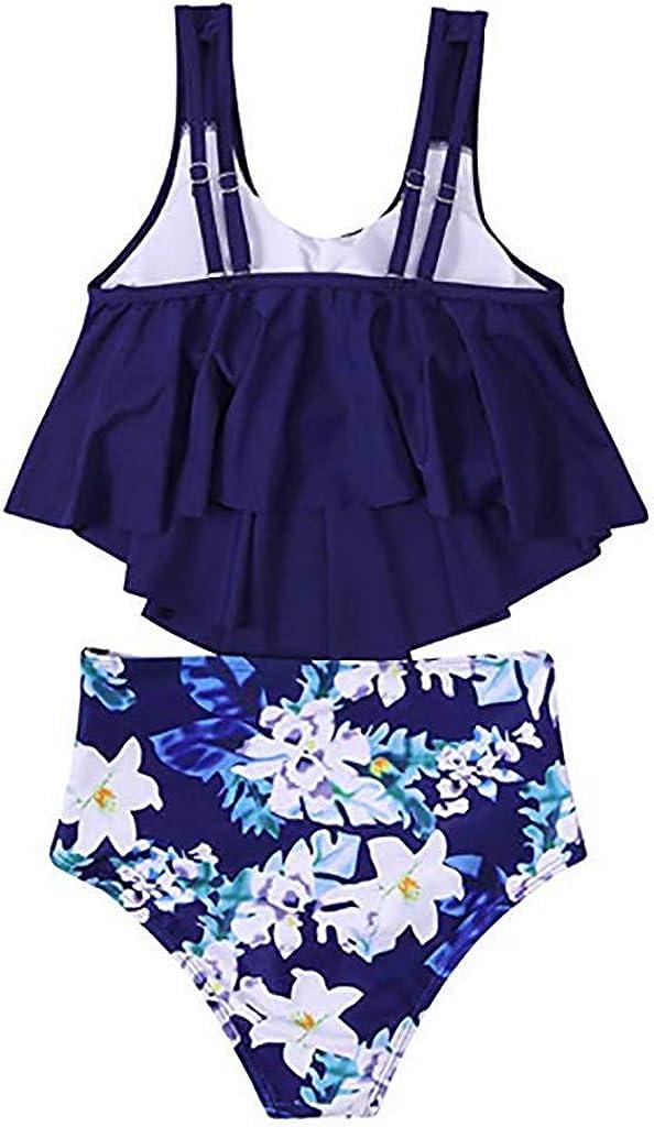 ZQISHMAO Casual Women High Waisted Swimsuit Flounce Swimwear Racerback Two Piece Bikini Sets