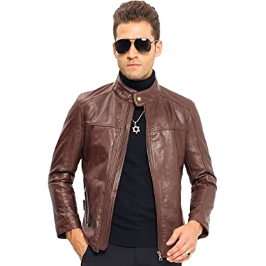 d9d21150ccdd LINAILIN Cow Leather Jacket Men Leather Outerwear Short Motorcycle Jacket ( XS