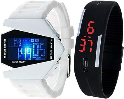 pappi Boss Pack de 2 Blanco LED Aviones Modelo con Pantalla de 7 luz LED Digital de Color Negro y Banda de Silicona Reloj de Pulsera Pantalla Digital – -: Amazon.es: Relojes