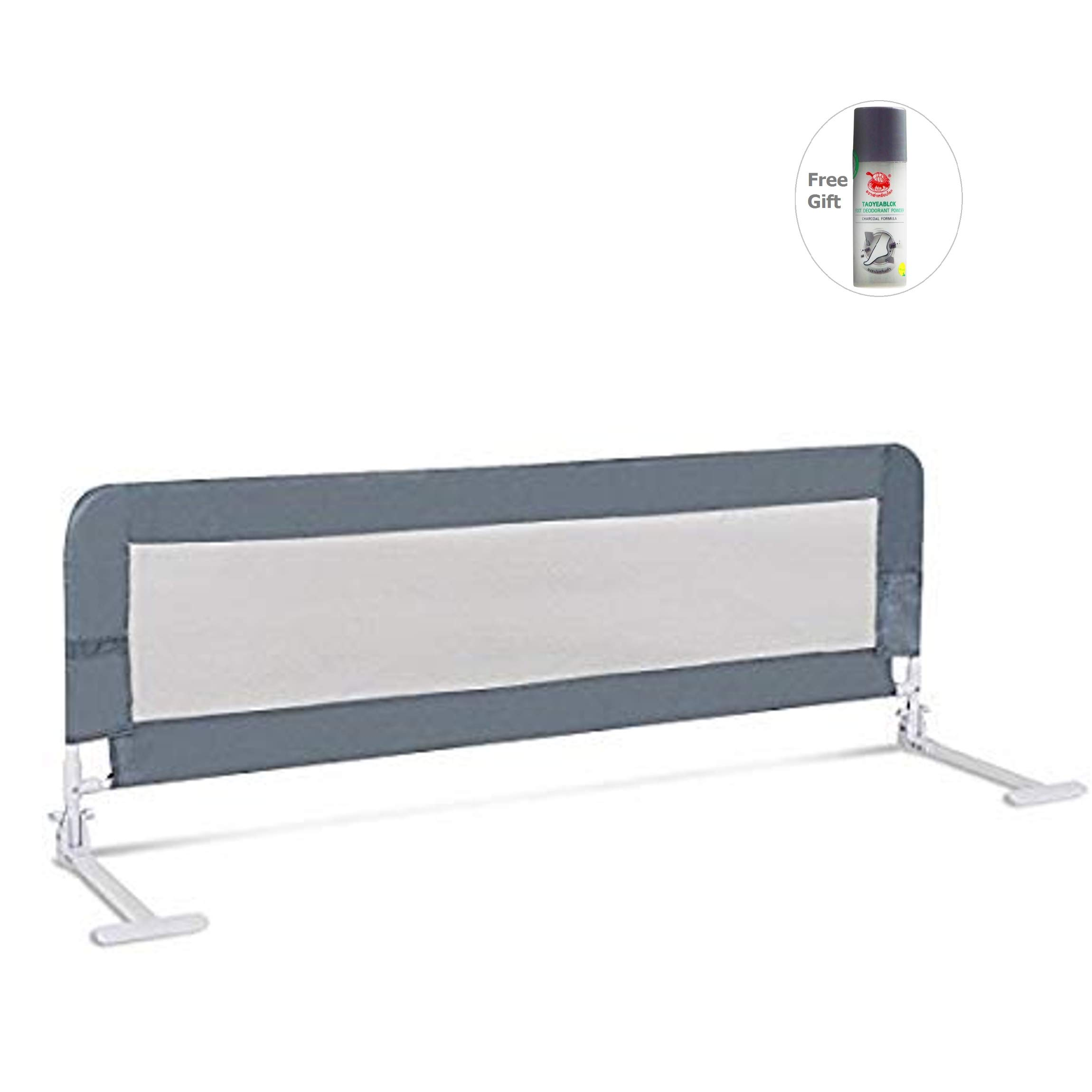 59'' Breathable Baby Children Toddler Bed Rail-Gray by Sunbizpro