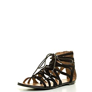 Forever Link Womens Open Toe Rome Gladiator Cage Cut Out Lace Up Flat Sandal 6 Black